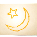 Antique Sewing Card - Moon and Star