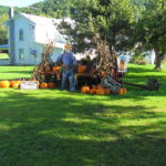 Pumpkin and scarecrow display