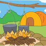 Camping with Campfire and Tent