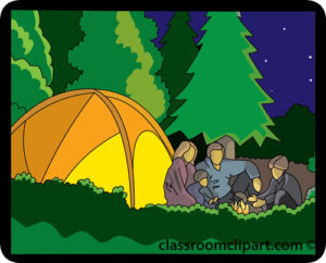 FAMILY CAMPING WITH TENT AND CAMP FIRE