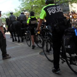 Police blocking the view
