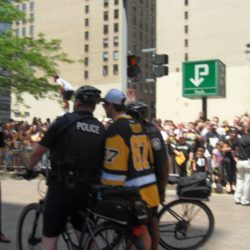 Crosby posing with the police